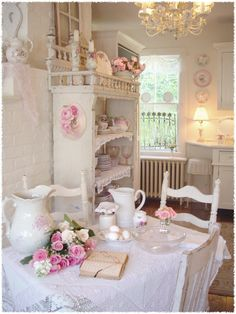 Shabby Chic: A mixture of floral fabrics, slip cover white or pink furnishings, pretty layered bedding, crystal chandeliers, chippy or rusted accessories, flea market finds.