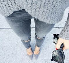 Ripped Jeans / Gray Sweater