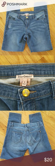Juicy Couture Jeggings Good used condition Juicy Couture jeggings.  Front and back pockets are made to be frayed.  Super soft! Juicy Couture Pants Leggings