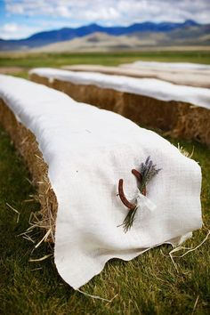 A western wedding without horseshoes is like a hipster wedding without mustaches. Wedding horseshoes probably evoke memories of the plastic silver horseshoes Hay Bale Seating, Ceremony Seating, Hay Bales, Wedding Seating, Wedding Ceremony, Wedding Arch Rustic, Country Wedding Dresses, Farm Wedding, Dream Wedding