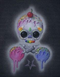 Sugar Fueled Skull Ice Cream Sugar Skull Tattoo Machine Lowbrow Creepy Cute Big Eye Art Print | redditgifts