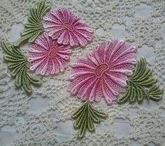 Fushia Pink Daisy Lace Flower Hand Dyed Venise  Crazy Quilt Applique Motifs