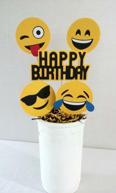Emoji Birthday Centerpiece - emoji party supplies - party decor - table decorations by Partyridge on Etsy https://www.etsy.com/listing/488387957/emoji-birthday-centerpiece-emoji-party