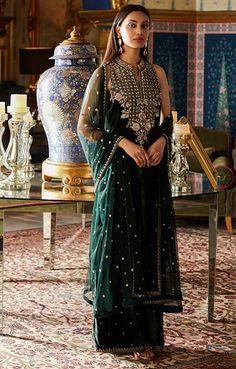 Designer Suits - Buy Zenia Set for Women Online - Green - Anita Dongre Party Wear Dresses, Bridal Dresses, Dress Outfits, Casual Outfits, Anita Dongre, Indian Wedding Outfits, Indian Outfits, Indian Clothes, Indian Attire