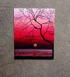 Original Sunset Painting, 20x16 Wall Art, Mother's Day Sale, Hand painted Sunset Silhouette, Ocean Painting: