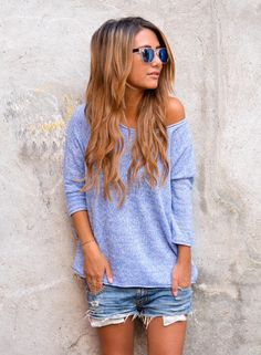 Ripped jean shorties with a slouchy off the shoulder 3/4 length top...perfect