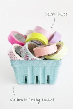 I love the idea of displaying and organizing washi tape in a cute little berry basket! Need to do this in my craft room!
