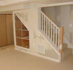 Shelves on staircase