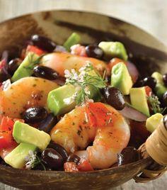 "Prueba nuestra suculenta ""Ensalada de camarón"" Shrimp Recipes, Fish Recipes, South American Dishes, Good Food, Yummy Food, Healthy Recipes, Finger Foods, Potato Salad, Seafood"