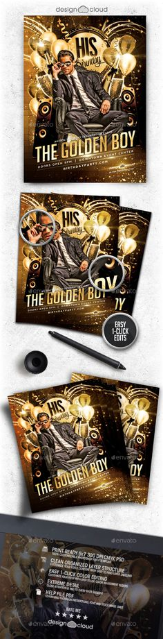 Buy Golden Boy Birthday Flyer Template by Design-Cloud on GraphicRiver. Golden Boy Birthday Flyer Template This fully editable flyer template is perfect for any Birthday or Black Tie relate. Club Flyers, Event Flyers, Birthday Flyer, Boy Birthday, Templates Printable Free, Flyer Template, The Golden Boy, Club Poster, Club Parties