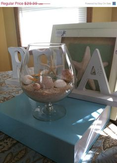 15% Off Sale Now Custom Beach Wedding Real Shells Sand Starfish Seaglass Brandy Snifter Glass Vase Home Decor Centerpiece Beach Display. $25.49, via Etsy.