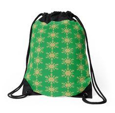 'Golden Glitter Sparkle Snowflake on Christmas Holly Green' Throw Pillow by podartist Custom Drawstring Bags, Green Throw Pillows, Golden Glitter, Designer Throw Pillows, Iphone Wallet, Pillow Design, Snowflakes, Sparkle, Christmas