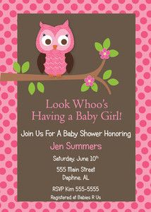 PRINTABLE PRINTED OWL GIRL BABY SHOWER INVITATION BIRTHDAY ANNIVERSARY INVITES