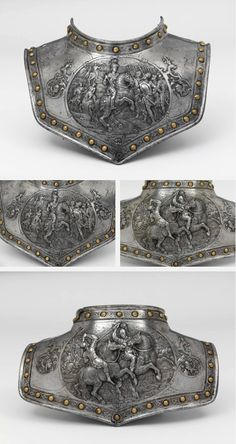 Gorget. 1600-25, Paris, France. Chiselled Iron embossed with gold. During the nineteenth century it was in the Cabinet d'Armes of the Emperor Napoleon III at the Chateau Pierrefonds. This gorget is an item of costume armour rather than battle protection. By the early seventeenth century it was increasingly common for men to proclaim their military professions by combining pieces of armour or weaponry with civilian clothing.