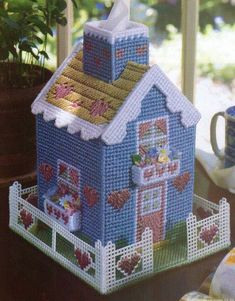 VICTORIAN HOUSE TISSUE BOX COVER PLASTIC CANVAS PATTERN INSTRUCTIONS | Crafts, Needlecrafts & Yarn, Embroidery & Cross Stitch | eBay!