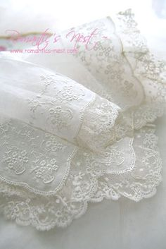Such sweet little whitework embroidered bouquets and lace trim. Shame the photo can't be enlarged for better detail view Such sweet little whitework embroidered bouquets and lace trim. Shame the photo can't be enlarged for better detail view Lace Ribbon, Lace Fabric, Antique Lace, Vintage Lace, Shabby Chic, Pearl And Lace, Lace Curtains, Romantic Lace, Lace Dresses