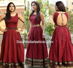 Rashmi Gautam in Mugdha Art Studio – South India Fashion rashmi gautam mugdha art studi maroon anarkali Long Dress Design, Dress Neck Designs, Blouse Designs, Indian Designer Outfits, Designer Dresses, Dna, Long Gown Dress, Long Frock, Full Gown