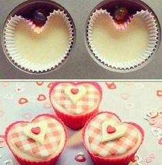 We sometimes need some romance for the family, and here is a helpful tip for your special treat on the day, by adding a marble ball on the top of cupcake liner to make sweet cupcakes from heart. Diy Cupcake, Vintage Cupcake, Fondant Cupcake Toppers, Rose Cupcake, Cupcake Cakes, Cupcake Tray, Chefs, Sweet Cupcakes, Heart Cupcakes