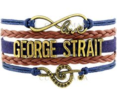 Love Country Music Singer George Strait Bracelet Navy Brown Wax Suede Leather Custom Any Themes