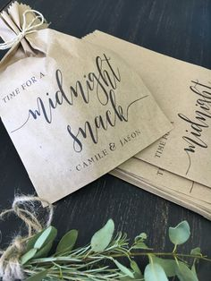 Midnight Snack Wedding Favor Bags, Cookie or candy Bar Bags for your Rustic or Elegant Wedding, Sold in Packs of 25  Beautiful and thoughtful favors for any celebration, something truly unique and made just for you! Use these versatile little favor bags in so many ways... {Candy or cookie buffets} {Snack buffets during receptions& parties} {Fill and seal for take home treas & candies}  * please note that if you are pre bagging these with freshly baked goods or any product with baking ...