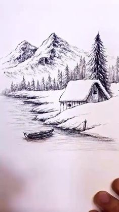 Amazing Pencil Drawings, Pencil Sketches Landscape, Pencil Drawing Images, Art Drawings Beautiful, Landscape Drawings, Simple Landscape Drawing, Mountain Landscape Drawing, Drawing Trees, 3d Art Drawing