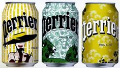 Perrier cans, an artistry design by Paul & Joe  which will look lovely at my bar table.