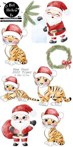 Christmas Cartoons, Christmas Clipart, Christmas Time, Winter Illustration, Christmas Illustration, Tiger Cookies, Cute Tigers, Clip Art, Christmas Templates
