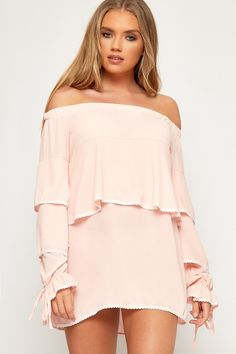 ffd7919b9319 Patsy Off Shoulder Long Sleeve Layered Mini Dress. WearAll