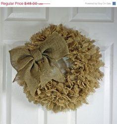 FINAL SALE 40 Off Handmade Burlap Rag Wreath by Cottonridgevintage, $28.80