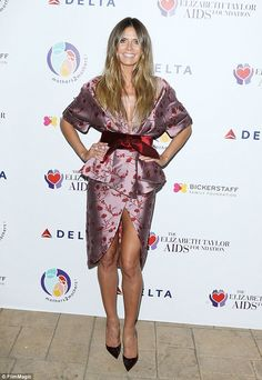 Blushing! Heidi Klum looked every inch the fashionista at the mothers2mothers and The Elizabeth Taylor AIDS Foundation's event in Beverly Hills on Tuesday night