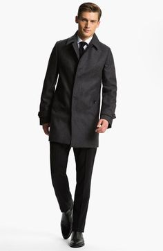 Burberry London Coat, Dress Shirt & BOSS Black Trousers  All-weather style.