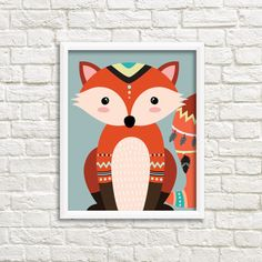 Tribal fox sign / wall art print DIY / native by THEBESTPRINTSHOP