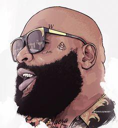 Rick Ross by shkelqimart Dope Cartoons, Dope Cartoon Art, Black Cartoon, Arte Do Hip Hop, Hip Hop Art, Rick Ross, Swagg Man, Maybach Music, Trill Art