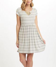 Love this Gray Stripe Fit & Flare Dress - Women on #zulily! #zulilyfinds