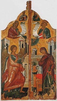Βημόθυρο από τη Μεσσήνη της Ιταλίας. Κάτω από νεότερο ζωγραφικό στρώμα αποκαλύφθηκε «Ο Ευαγγελισμός» που χρονολογείται στο β΄ μισό του 15ου αι. Βυζαντινό και Χριστιανικό Μουσείο Royal Doors, Byzantine Icons, Kingdom Of Heaven, Religious Icons, Orthodox Icons, Renaissance Art, Virgin Mary, New Art, Medieval