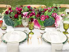 table with beautiful arrangement featured in House Beautiful magazine