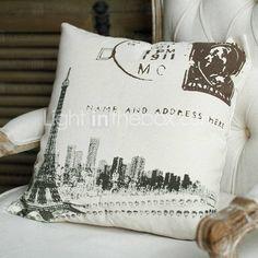 Torre Eiffel pattened almohada de lino natural con relleno