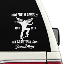 Ride With Angels Skateboarding Memorial Car Decal - 6x9 ** Check out the image by visiting the link. (Amazon affiliate link)