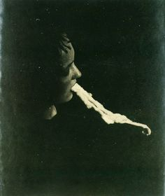 """Albert von Schrenck-Notzing, """"The medium Stanislawa P: emission and resorption of an ectoplasmic substance through the mouth"""", 25 January Gelatin silver print Diesel Punk, Ouija, Paranormal, Creepy, Scary, Spirit Photography, School Photography, Artistic Photography, Pseudo Science"""