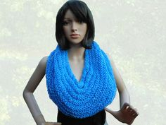 Hand Knit Cobalt Blue Infinity Scarf or by CraftingMemories1
