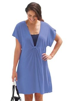 Amazon.com: Swim 365 Plus Size Cover-Up With Knotted Front: Clothing