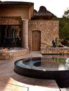 Inspirational Build Your Own Water Fountain Design Ideas Pictures Remodel and Decor gas fire pit ud ucTile in hot tub Pool water up to the edge ud