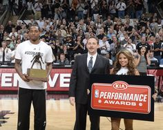 Trophy presentation for the NBA's 2015 Defensive Player of the Year: Kawhi Leonard prior to Game 3 of #CLIPPERSvSPURS.