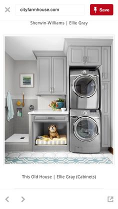 I like the cabinet on bottom for laundry and cabinet up top for ironing board. Like design.