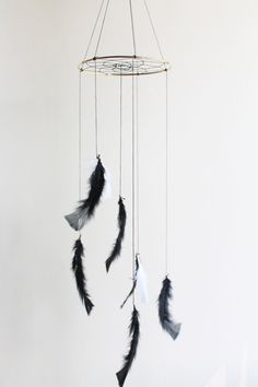 Dreamcatcher Mobile - Black Boho Bohemian Baby Tribal Black and White Indian