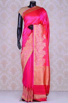 Hot pink splendid banarasi silk saree with dull gold border-SR20302