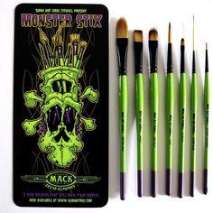 Mack Tidwell paint brush set Monster Stix artist series 7pc painting art #Mack