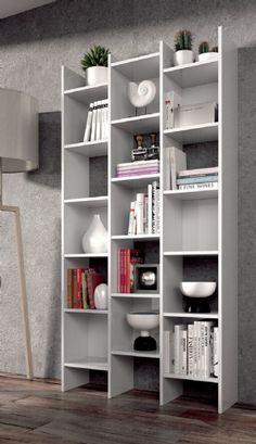 Naples Bookcase White Soft Gloss Triple Bookshelf