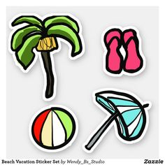 Shop Beach Vacation Sticker Set created by Wendy_Bs_Studio. Palm Trees Beach, Vinyl Sheets, Beach Ball, Custom Stickers, Bullet Journal, Vacation, Personalized Stickers, Holidays Music, Holiday