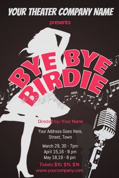 Bye Birdie Play Poster Template Click To Customize